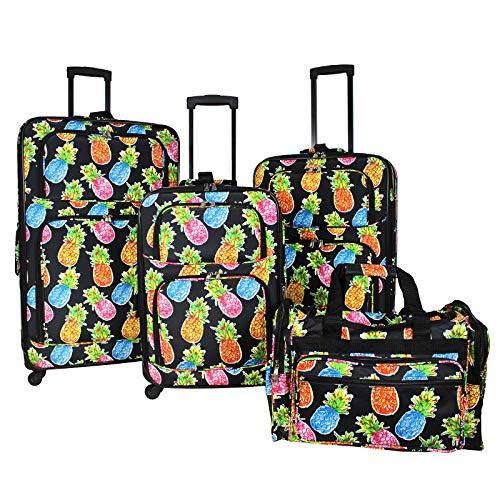 World Traveler 4-Piece Rolling Expandable Spinner Luggage Set, Pineapple Black
