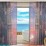 78 in curtain panel - ALAZA Arabian Interior Design Moroccan Door Voile Sheer Window Curtain Door Way Tulle Curtain Drapes Panels for Living Room Bedroom Kitchen 55x78 inch, 2 PCS