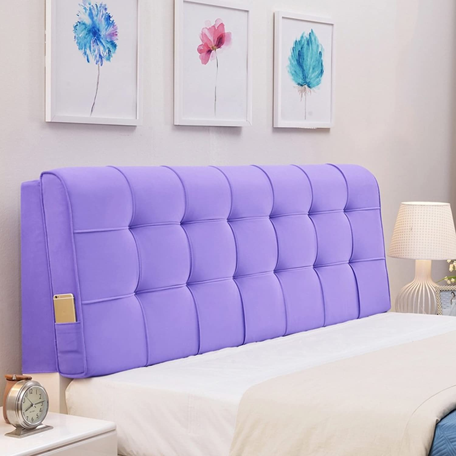 WENZHE Upholstered Fabric Headboard Bedside Cushion Pads Cover Bed Wedges Backrest Waist Pad Cloth Art Large Back Multifunction Soft Case, Washable, There Are Headboards, 7 colors, 8 Sizes ( color   4  , Size   With headboard-120cm )