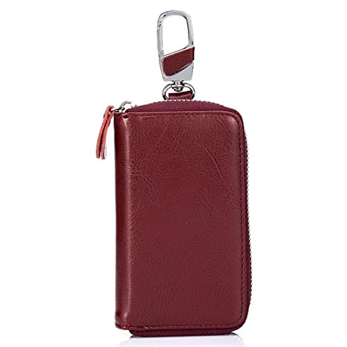 6497d00a11 Genuine Leather Key Case Car Key Wallet with 12 Hook Zip Around Keychain  Holder for Men