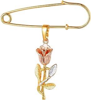 FOCALOOK Spilla Pendente Donna Delicata Elegante Fiore Rosa Tricolore, Placcato Oro 18K, Gioiello alla Moda, Regalo Comple...