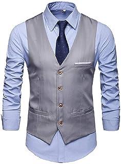 MU2M Men Slim Pockets V-Neck Single-Breasted Vest Modern Fit Dress Waistcoat