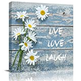 Square Wall Art LIVE LOVE LAUGH White Daisy Flowers Wood Grain Canvas Wall Art Prints Pictures for Bedroom Living Room Office, Stretched and Wooden Framed Ready to Hang, 12x12 Inch Wall Decor Posters
