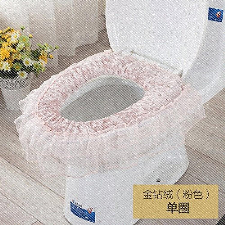 MKSFY Toilet Seat Cover Plush Zipper Toilet 3-Piece Lace European Pastoral, gold Diamond Cashmere Single Pad Pink