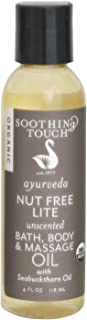 Soothing Touch Nut Free Lite Organic Bath Body & Massage Oil, Unscented, 4 Ounce