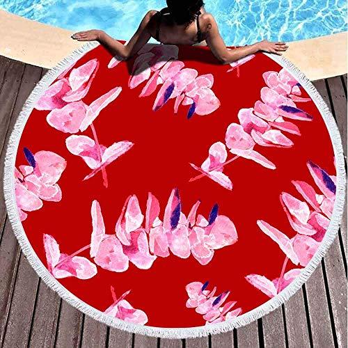 Toallas de playa redondas para adultos, patrón de hojas de eucalipto, acuarela, fondo pintado, textura de papel de regalo, tela textil, 152 x 152 cm, toalla de playa grande para niños, mujeres y niños