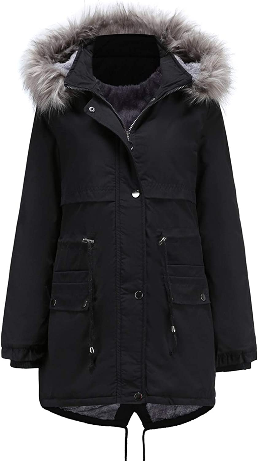JHDESSLY Autumn and winter Plush Thick Long Coat Hooded Zipper Faux Fur Jacket for women