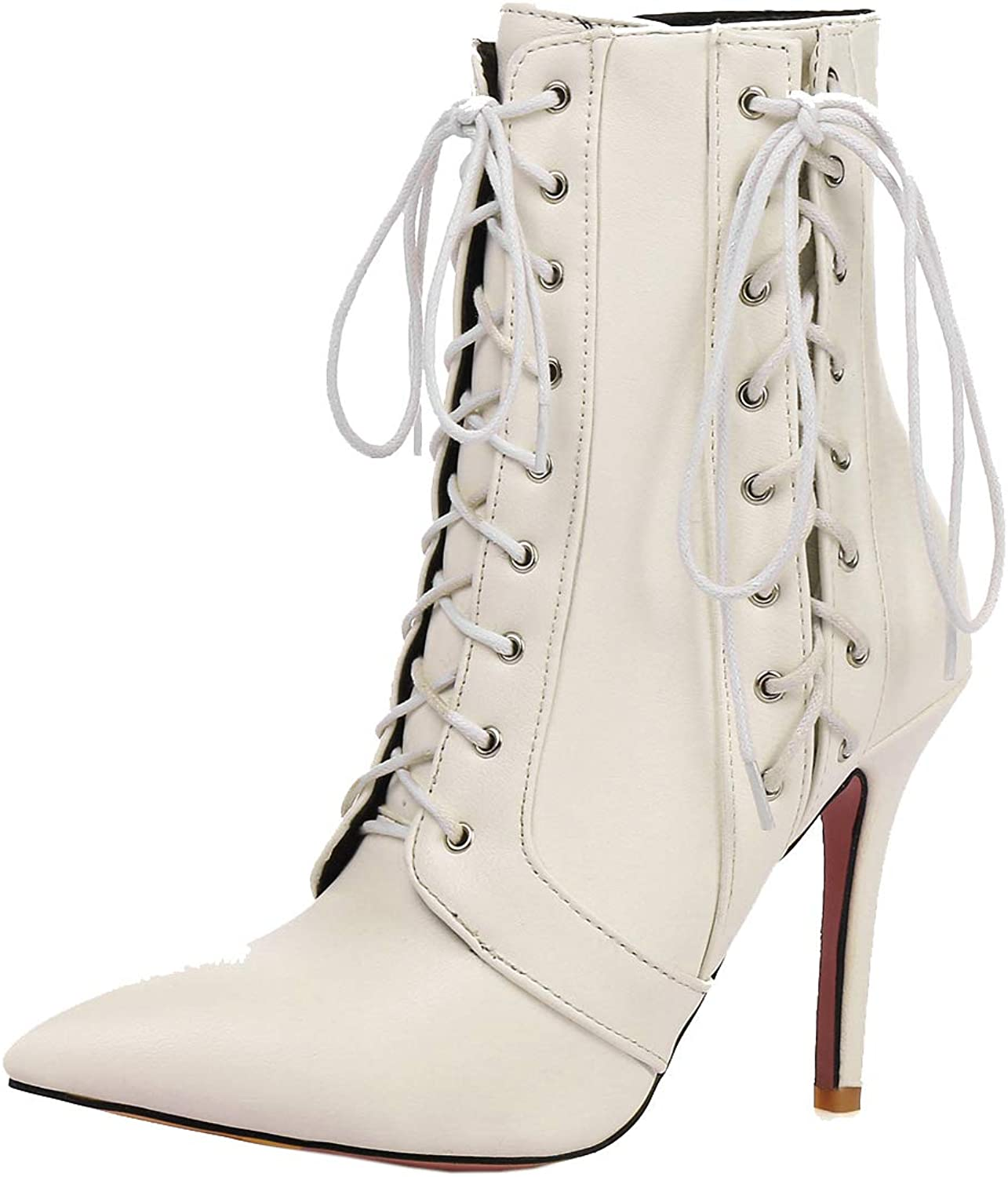 Vitalo Womens Lace Up High Heel Stiletto Pointed Toe Ankle Boots Autumn Winter Booties