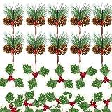 TUPARKA 24 Pezzi di Bacche Artificiali di Agrifoglio e Set di pigne di Natale, Include 12 Pezzi di Bacche Rosse e 12 Pezzi di Mini pini per Confezione Regalo di Natale Ghirlanda Decorazioni