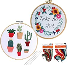 Heflashor 2 Pack Embroidery Kit with Pattern and Instructions Including 2 Embroidery Cloth with Pattern, 2 Bamboo Hoop, Color Threads and Tool for Adults and Kids Beginners