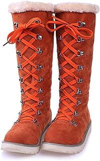 Mujer Otoño Invierno Cálido Peluche Forrada Botas De Nieve Confortable Encaje Botines Anti-Deslizante Zapatos Planos