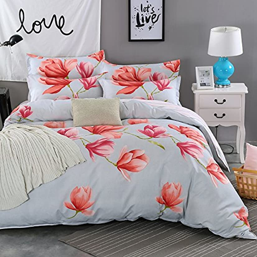 長くするチャーミング後悔レッド咲く花の柄を飾る快適で便利ベッドである枕カバーシートカバー年間適用【布団カバー ダブル3点セット】(掛カバー150*210cm)