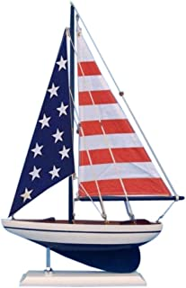 Hampton Nautical Wooden USA Flag Sailer Model Sailboat Decoration, 17