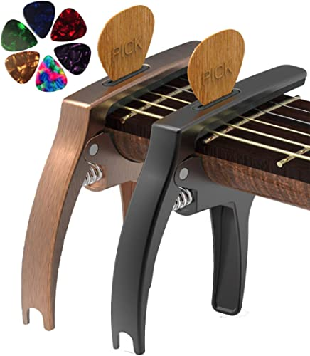 TANMUS 3in1 Guitar Capo for Acoustic and Electric Guitars,2 Pack(with Pick Holder and 6Picks),Ukulele,Guitar Accessories