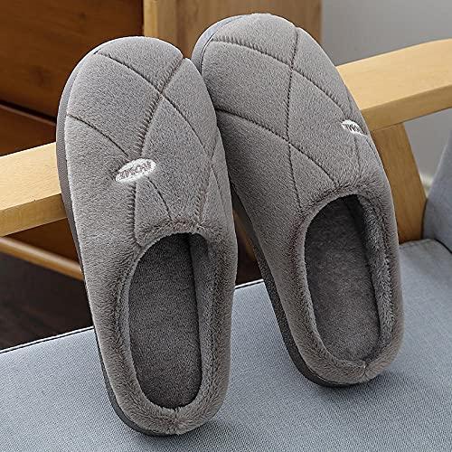 QPPQ Pantuflas de algodón Antideslizantes,Zapatillas de casa de otoño e Invierno, Zapatillas de algodón para Interiores cálidas para Interiores-Gris Claro_44-45,Pantuflas cálidas de algodón