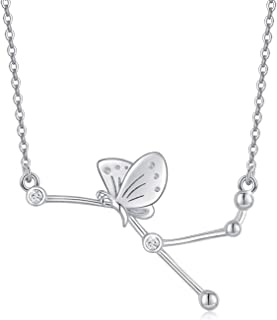 Lucky Butterfly Zodiac Constellation Necklace - 925 Sterling Silver Constellation Pendant Necklace Vir/Agr/Ari/Cnc/Cap/Ge...