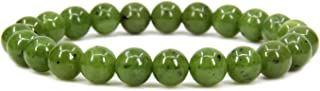 Natural Gemstone Handmade 8mm Round Beads Stretch Bracelet 7 Inch 7 inch Green