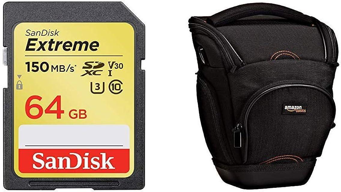 SanDisk Extreme 64GB SDXC Memory Card up to 150MB/s Class 10 U3 V30 + AmazonBasics - Funda para cámara de Fotos réflex Color Negro
