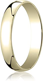 Men's 14K Yellow Gold 4mm Low Dome Light Comfort Fit Wedding Band Ring