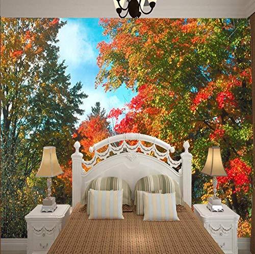 3D niet-geweven behang schilderij met bos bloem achter tv bank bed als achtergrond in woonkamer 400*280 400*280