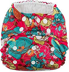 professional Cokey baby all-in-one (AIO) cloth diapers (pink poppies) of several sizes