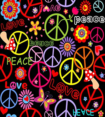 Qewhyn Hippie Poster Peace Symbol Mushrooms Abstract Hippy Sign Love 70S Retro Wall Art Painting Print Home Artwork Decoration for Living Room Bedroom Office Unframed 24x36 lnches