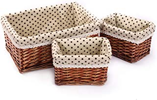 Wicker basket, hand-woven desktop storage basket, multi-function storage box with removable lining, dirty clothes basket (three pieces) (Color : Natural)