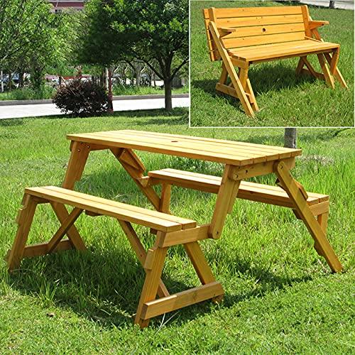Mesa y silla de madera para picnic al aire libre, Bancos de jardín multifuncionales con agujeros para sombrillas, Banco de parque con respaldo de madera maciza anticorrosiva Banco de ocio para terra