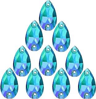 50Pcs Teardrop Sew on Rhinestones Crystal AB Glass Flatback Rhinestone for Crafts Clothing Wedding Dress Decoration,11X18mm AB Blue
