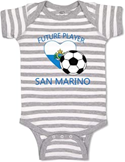 Custom Boy & Girl Baby Bodysuit Future Soccer Player San Marino Striped Clothes