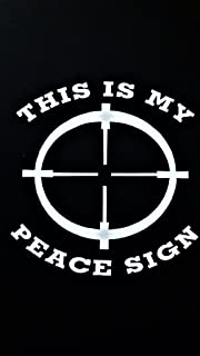 Chase Grace Studio This is My Peace Sign Guns Vinyl Decal Sticker|White|Cars Trucks Vans SUV Laptops Wall Art|5.25