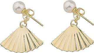 Zuo Bao Gold Pearl Earrings Geometric Earring Boho Bohemian Earrings Ginkgo Leaf Earrings Wedding Gift Maid of Honor Elegant Jewelry for Women