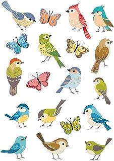 Stickers Petits Oiseaux - Adhésifs Transparents - Dimensions A4