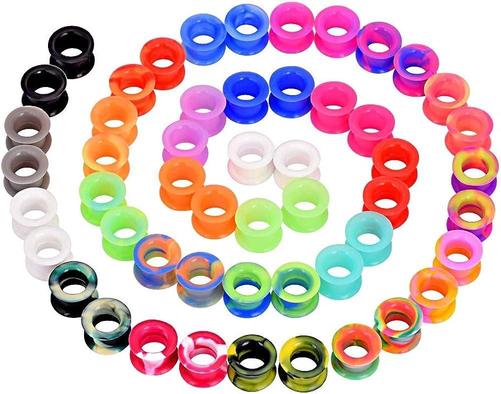 YOFANST 30pcs-52pcs Flexible Colorful Silicone Ear Gauges Double Flared Ear Tunnels Piercing Set