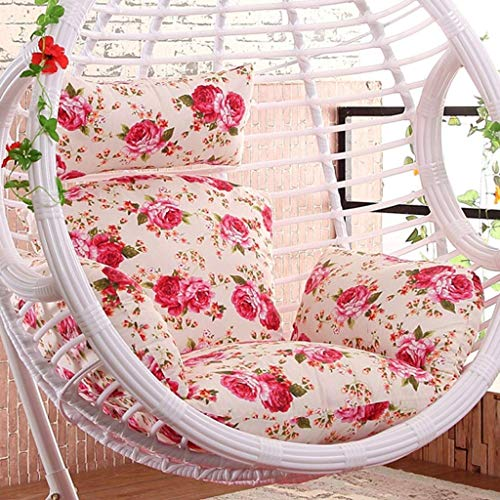 Yuany Rattan Swing Chair Hanging Garden Patio Indoor Outdoor Egg Chair Cushion and Cover,Size:50 x 56 Inch (Color : A…