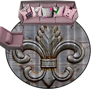 Entrance Modern Area Rugs Fleur De Lis Antiques,Peacock Flower Lily Rusty Antiqued Wood Silver Medieval Door Bell French Saints Symbol Rustic,Charcoal Diameter 66