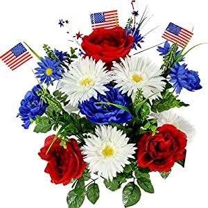 Silk Flower Arrangements Admired By Nature GPB4340-RD/WT/BL Artificial Full Blooming Flowers, Medium, 1. ABN_RD/WT/BL_Daisy w/Flag
