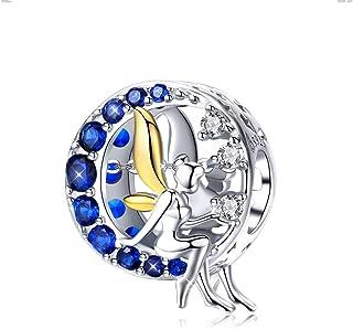 Abalorio de plata de ley 925 con diseño de luna azul y un hada lunar, circonitas cúbicas, compatible con las pulseras euro...