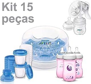 Kit Esterilizador de Mamadeiras + 3 Mamadeiras Pétala Coruja + Tira Leite c/ 10 Copos - Avent