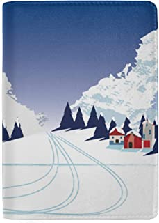 Winter Mountain Landscape with Houses Blocking Print Passport Holder Cover Case Travel Luggage Passport Wallet Card Holder Made with Leather for Men Women Kids Family