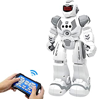 BIBIELF Robot Toys for Kids, RC Programmable Robot Toys for Boy with Infrared Gesture Sensing, Sliding, Singing, Dancing, Interactive Early Educational Kids Robot Toys for Kids, Gray