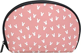 ALAZA Rabbit Head Half Moon Cosmetic Makeup Toiletry Bag Pouch Travel Handy Purse Organizer Bag for Women Girls