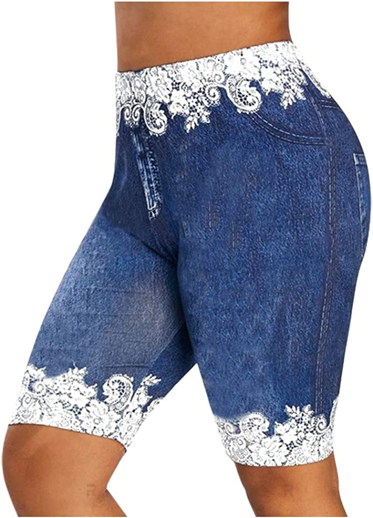 Forthery Women High Waisted Floral Print Womens Skinny Jeans Denim Leggings Stretchy Soft Seamless Yoga Workout Pants
