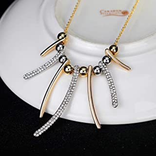 African Jewelry KC+White Gold Plated Fancy Sticks Beads White Rhinestone Necklace