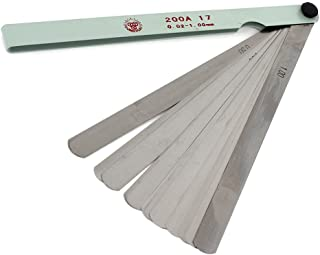 Timiy 0.02 to 1mm Thickness 17 Blades Steel Feeler Gauge Dual Marked Metric and Imperial Gap Measuring Tool 200x17mm