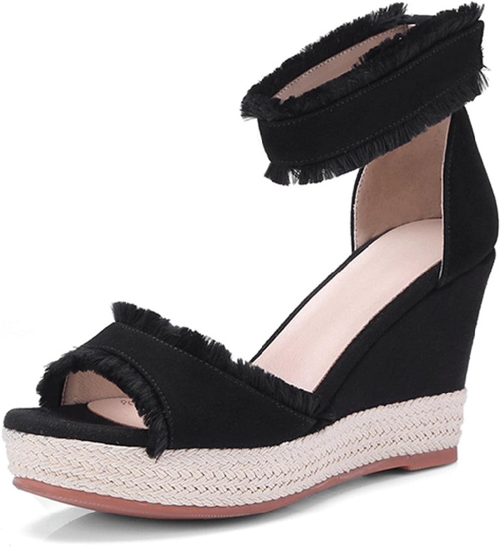 Summer Women's Black Wedge Heel Sandals Fashion Velcro Peep-toe High Heels ( color   Black , Size   37 )