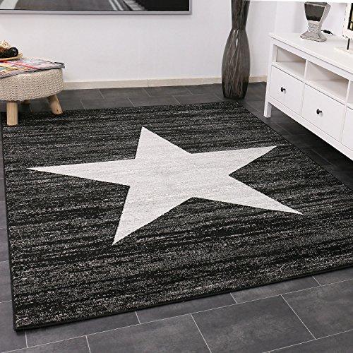 VIMODA Kurzflor Teppich Meliert in Schwarz, Maße:120 x 170 cm
