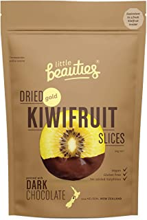 Dried Gold Kiwifruit Slices with Dark Chocolate from New Zealand by Little Beauties. Healthy Sweet Natural Vegan Fruit Sna...