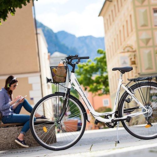 Bergsteiger Florenz 28 Zoll Damenfahrrad, ab 160 cm, Korb, Fahrrad-Licht, Shimano 7 Gang-Schaltung, Standlichtfunktion, Damen-Citybike, Damenrad im Retro-Design - 5