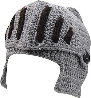 Mens Winter Crochet Knight Skull Slouchy Ski Beanie Removable Face Mask Cap Hat